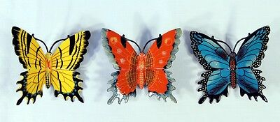 "Hand Painted 6"" Assorted Butterfly Wall Mount Decor Sculpture 24B-A (Set of 3)"