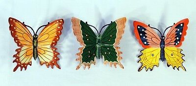 "Hand Painted 6"" Assorted Butterfly Wall Mount Decor Sculpture 24B-B (Set of 3)"