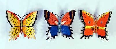 "Hand Painted 6"" Assorted Butterfly Wall Mount Decor Sculpture 24B-C (Set of 3)"