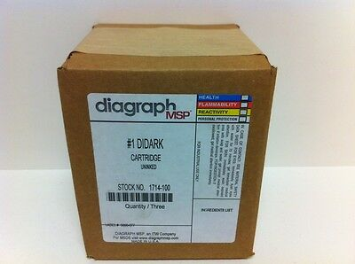 Box Of (3) New! Diagraph #1 Didark Uninked Cartridges 1714-100