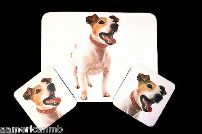 3 pc Set Dog Lover Mouse Pad 9x7 +2 Coasters JACK RUSSELL Puppies Nice Gift