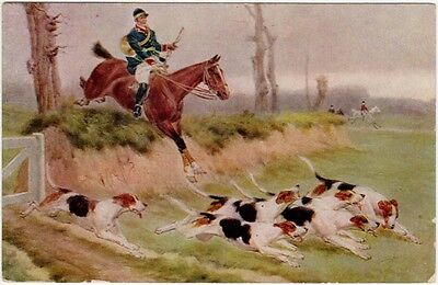 Postcard of Hunting Dogs and Man on a Horse