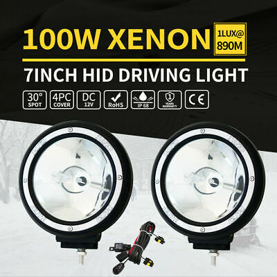 2X 7inch 100W HID Driving Lights Xenon Spotlight Offroad UTE Work Lamp 4WD 12V