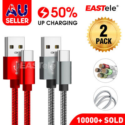 2x Fast Charging USB Type C Cable For Samsung S9 S10  S20 PLUS Note 10 HUAWEI