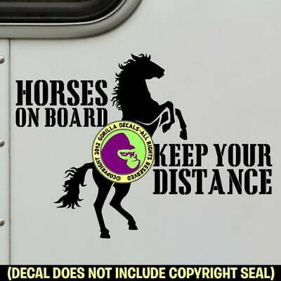 HORSES ON BOARD - REARING Decal Sticker Caution Tailgaiting Back Door Sign BL