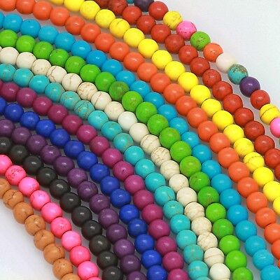 """16"""" Howlite Turquoise Loose Beads Round 4mm 6mm 8mm 10mm 12mm 14 Colors"""