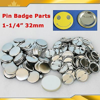 """DIY 100Sets 1-1/4"""" 32mm Pin Badge Button Parts Supplies for Pro Maker Machine"""