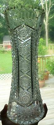 """Rare ABP Cut Glass Alhambra 14"""" Cut Glass Vase AS IS"""