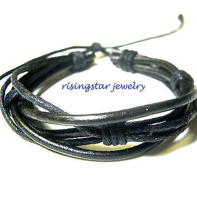 Handmade Men Multi Hemp Leather Band Fashion Surfer Biker Hip Bracelet Wristband