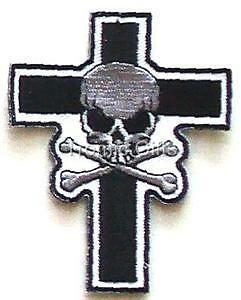 Skull Crossbones Cross Biker Motorcycle Patch SM TG8414