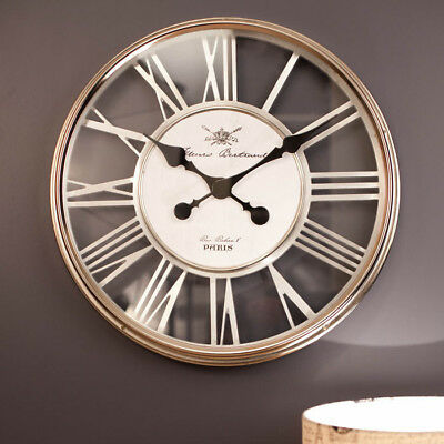 Large Wall Clock 54cm ESTHER Modern Paris French Silver Glass Interior Designer