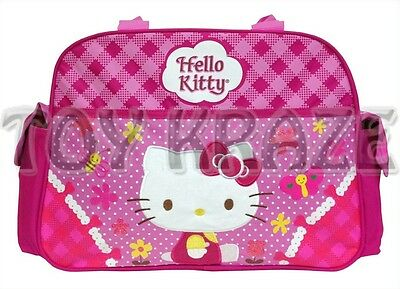 """HELLO KITTY TRAVEL LUGGAGE! PINK FLOWERS LARGE GYM DUFFLE BAG TOTE 18"""" NWT"""