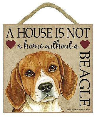 """House is Not Home Beagle Sign Plaque 5""""x5"""" easel"""