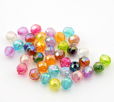 100 x Mixed Round Acrylic Spacer Beads Craft Jewellery - 6mm - L21782 *