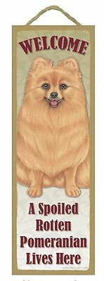 """Spoiled Rotten Pomeranian Lives Here Sign 5"""" x 15"""" Plaque Gift pet dog"""