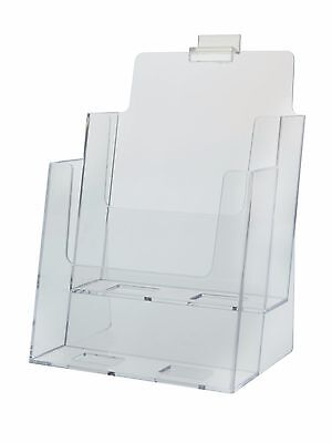 "6.38""w x 9""h Clear Acrylic 2-Tier Slatwall Brochure Literature Trifold Holder"