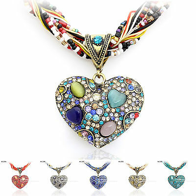 Opal Crystal Heart Pendant Handmade Necklace Made with Swarovski Elements W120