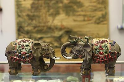 Rare Old Large Shiwan Unique Chinese Wucai Gray porcelain ceramic Elephant pair