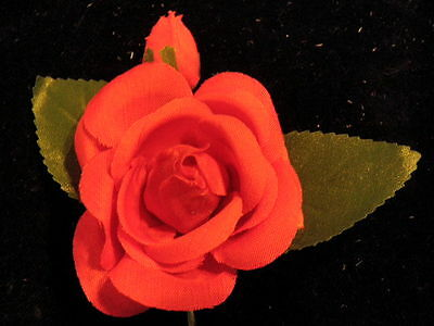 """Vintage Millinery Flower Red Rose 3"""" Organdy with Bud for Hat Wedding + Hair XM"""
