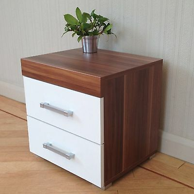2 Drawer White & Walnut Bedside Cabinet / Table Bedroom Furniture * BRAND NEW*
