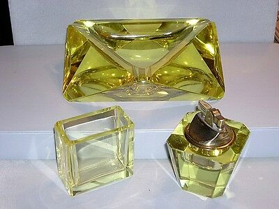 Vintage Bohemian~Czech Lemon Yellow Glass Crystal Ashtray~Lighter~Holder Set