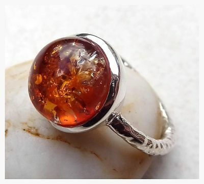 GENUINE 925 Sterling Silver AMBER GEMSTONE RING SIZE R - US 8 3/4