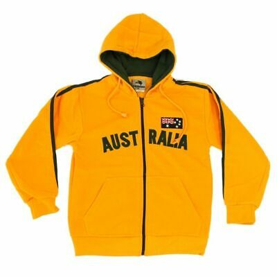 Kids Zip-up Hoodie Jacket Jumper Australian Australia Day Souvenir -Green & Gold
