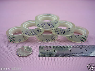 "4 Rolls Clear Stationery Adhesive Tape Crystal Sellotape 12mm x 15yard (1"" CORE)"
