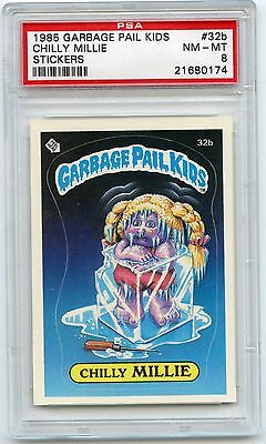 1985 GARBAGE PAIL KIDS STICKERS #32b CHILLY MILLIE - PSA 8 NM-MT (174)