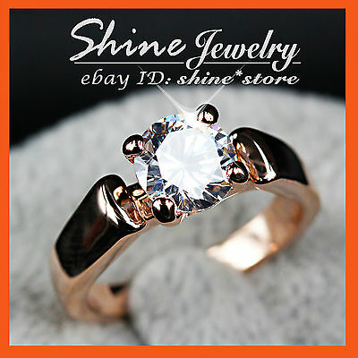 18K ROSE GOLD GF R114 2CT SIMULATED DIAMOND WEDDINGL WOMENS SOLID solitaire RING