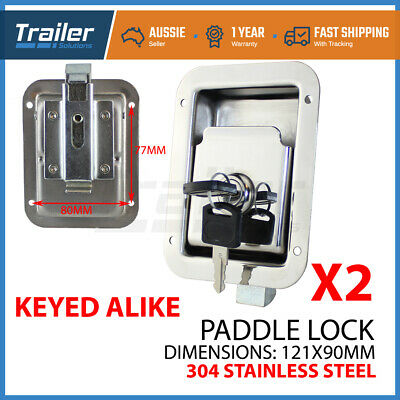 x2 STAINLESS STEEL PADDLE LOCK, 121MMx90MM LATCH HANDLE TOOLBOX CARAVAN TRAILER