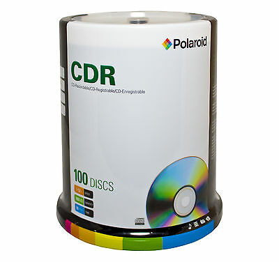 Blank CD-R80 (52X) 700mb Polaroid CD Discs in a 100pk Spindle (C1-1142P2)