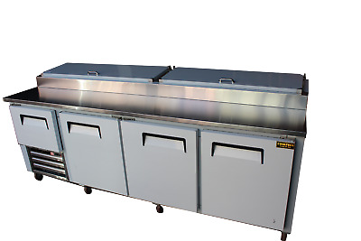 """96"""" New US-Made Three and half Door Refrigerated Pizza Salad Prep Table S.S TOP"""
