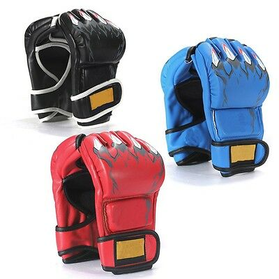 Leather Boxing Gloves Punching Sparring Ultimate Grappling Fight Mitt MMA UFC