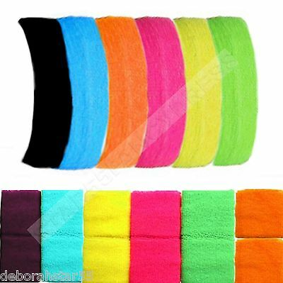Girls Neon Colours 80s Headband 2 Wristbands Sweatbands Fancy Dress Tutu Fun Run