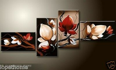 NEW 4pc MODERN ABSTRACT HUGE WALL ART OIL PAINTING ON CANVAS Flowers (No frame)