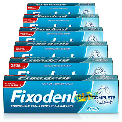 6x Fixodent Fresh Complete Denture Adhesive Strong Hold & Food Seal Cream 47g