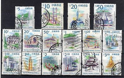 HONG KONG = 1999 Landmarks ORIGINAL issue set of 16 to $50. Used. (a)