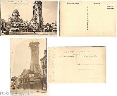LOT 2 CPA PHOTO postcard Basilique ruines effondrement Tour Charlemagne TOURS A