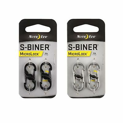 Nite Ize S-Biner MicroLock Locking Carabiner Black or Silver Stainless Steel 2Pk