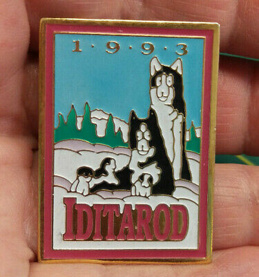 1993 Alaska Iditarod dog sled race large tie tac lapel Pin, 1000 tough miles
