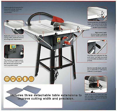 "BRAND NEW TABLE SAW WITH POWERFUL 1800w MOTOR 10"" BLADE WITH 3 EXTENSIONS"