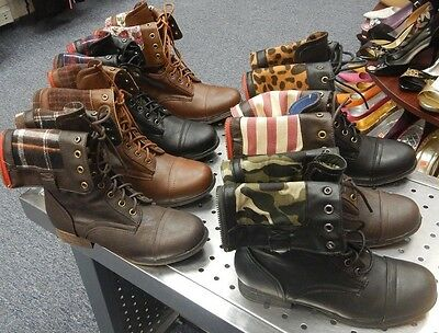 Pu Fold Over Cuff Lace Up Military Combat Boots #Surprise-01