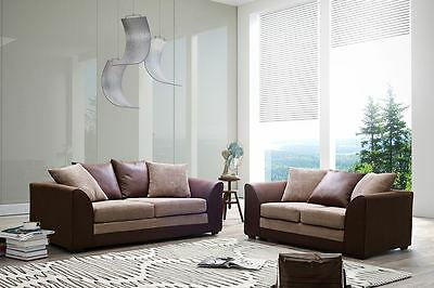 JUMBO CORD SOFAS Corners + 3+2+1 swivel chairs, Brown & Beige Dylan Fabric Couch