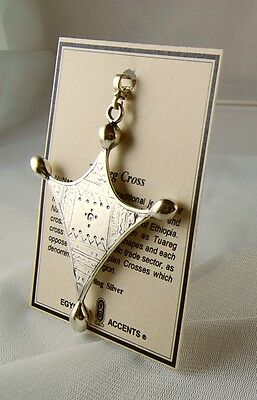 "Men's African Solid 925 Silver Tuareg Cross & Chain 23 Grams Pendant 3.25"" H"
