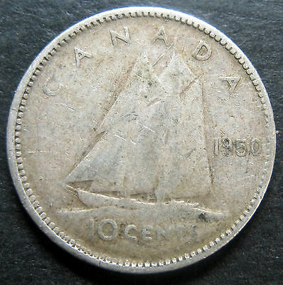 1950 Canada 10 Cents silver coin!