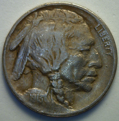 1913 Type 1 Buffalo Indian Head Nickel US Coin VF