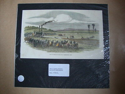 Genuine Hand Coloured Antique Print of the Trial of Steam-Ploughs, Kent. by Anon