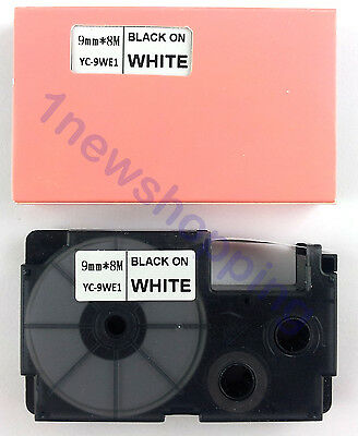 Great quality Compatible for Casio Tape 9mm BLACK on WHITE Label  XR-9WE1