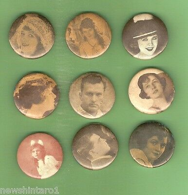 #d59.  Nine Very Old Tin Badges Of Unknown Movie Stars